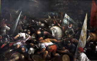 Battle_scene_Charles_VIII_receiving_the_crown_of_Napoli-Francesco_Bassano-MBA_Lyon_A166-IMG_0305