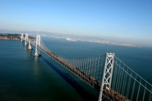 aerial digital photography of the Bay Bridge, San Francisco, California, USA
