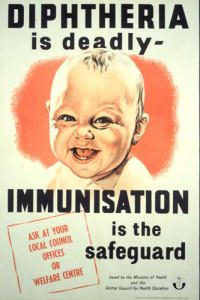 Post World War II United Kingdom poster promoting vaccination against diphtheria.