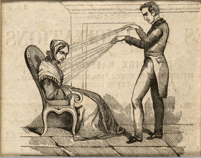 V0011094 A practictioner of Mesmerism using Animal Magnetism Credit: Wellcome Library, London. Wellcome Images images@wellcome.ac.uk http://wellcomeimages.org A practitioner of mesmerism using animal magnetism on a woman who responds with convulsions. Wood engraving. Mesmer, Franz Anton 1734-1815. Wood engraving c.1845 Published: - Copyrighted work available under Creative Commons Attribution only licence CC BY 4.0 http://creativecommons.org/licenses/by/4.0/